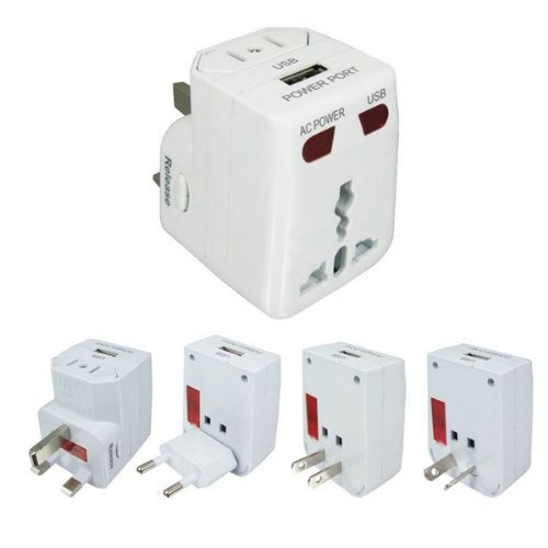 Foxnovo Universal All-in-One U.S. / EU / UK / AU Stecker Reisen Wall Charger AC Power Adapter mit USB-Ausgang (weiß)
