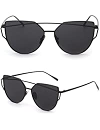 TIFENNY Fashion Twin-Beams Classic Women Metal Frame Mirror Sunglasses Cat Eye Glasses (Black