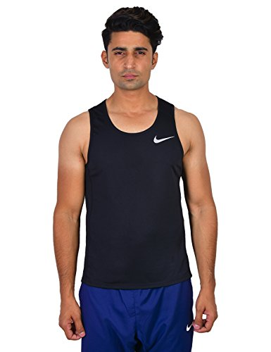 Nike Men's Solid Regular fit T-Shirt (833590-010 Black_Large)