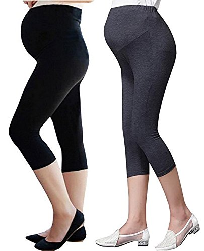 00a1c3925023f Foucome 2 Pack Women's Over The Belly Super Soft Support Maternity Capri  Leggings,Black+Dark Gray - Buy Online in Oman. | Apparel Products in Oman -  See ...