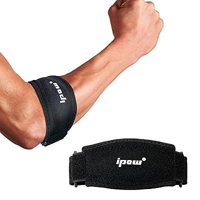[2er Pack] Ipow Ellenbogenbandagen mit Kompressionskissen für Unterstützung und Schmerzlinderung, Tennisarm Golferarm Manschette Bandage unisex einstellbar für Damen und Herren