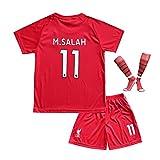 BTA APPAREL 2018/2019 Liverpool #11 Salah Heim Kinder Fußball Trikot Hose und Socken Kindergrößen (6-8 Jahre)