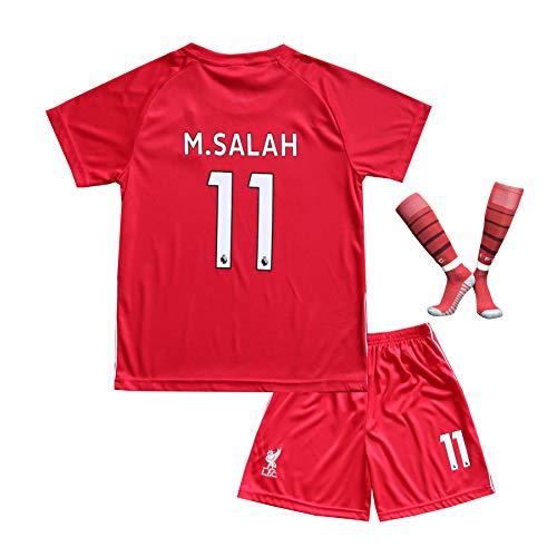 BTA APPAREL 2018/2019 Liverpool #11 Salah Heim Kinder Fußball Trikot Hose und Socken Kindergrößen (12-14 Jahre)