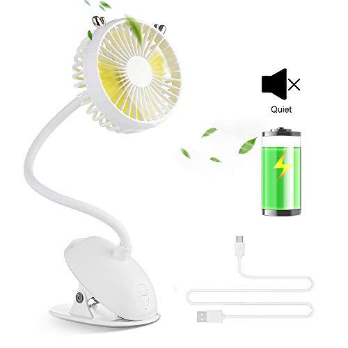 OTraki USB Clip Ventilator leise Tischventilator Berührungsschalter mit Wiederaufladbar 2000mAh Batterie und tragbar Clip, Persönlichen Ventilator Klein Lüfter Fans für Zuhause, Büro, Kinderwagen