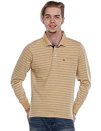 Crimsoune Club Mustard Yellow Striped T Shirts