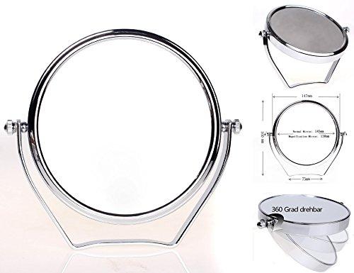 HIMRY-Cosmtica-Espejo-Espejos-para-bao-espejo-de-mesa-6-pulgadas-Espejo-360–de-rotacin-13cm-Espejos-con-cara-Doble-Estndar-35710-aumentos-KXD-3102