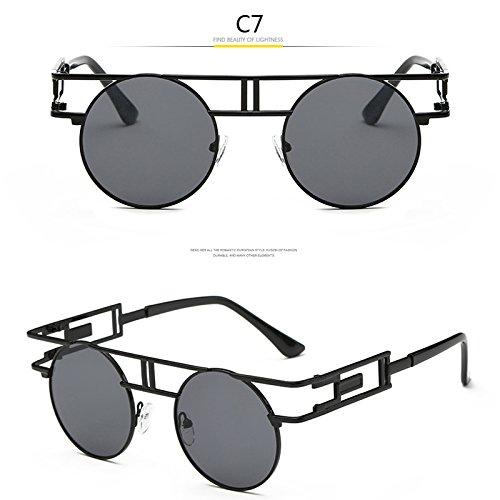MinegRong Mode Metallrahmen Steampunk Sonnenbrille Frauen Marke runde Designer einzigartige Männer Gothic Sonnenbrille Vintage Retro De Sol Feminino, JR 6617 C7