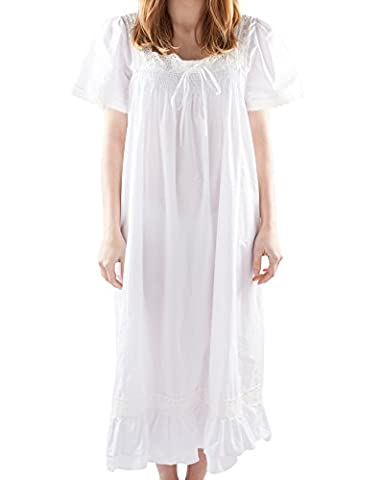 VNTW-001;6X Long Victorian Nightdress with Smocked Front and Short Sleeves