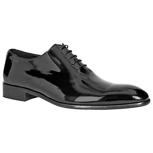 Zweigut Hamburg- piekfein #105 Herren Lack Leder Schuh Original Wholecut Oxford, Schuhgröße:43, Farbe:lackschwarz