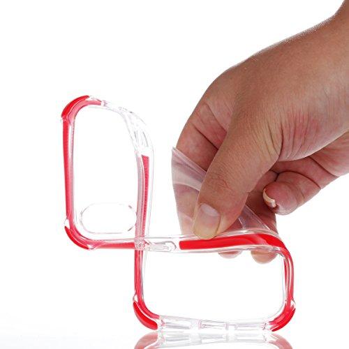 iPhone X Hülle, MOONMINI Ultra Dünn Transparent Soft TPU Silikon Handyhülle Slim Stoßfest Anti-Kratzer Handy Tasche Case Anti-Drop Schutzhülle für iPhone X Schwarz Rot