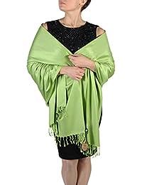 Pashmina bufanda femenina- Acabado de borlas - Percha gratuita – Más de 20 colores - Hecho de mano