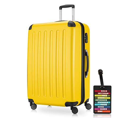 Hauptstadtkoffer - Spree Hartschalen-Koffer-XL Koffer Trolley Rollkoffer Reisekoffer Erweiterbar, 4 Rollen, TSA, 75 cm, 119 Liter, Gelb inkl. Design Kofferanhänger