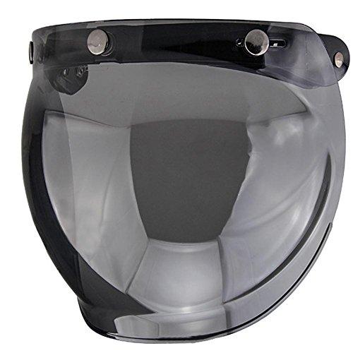 Helmbrille, Enjoyall Motocross Goggles Motorradbrille Grip für Helm Motorrad Retro Pilot-Style Open Face Helm Windschutz 3 Snap-Button Visier Flip Up Down