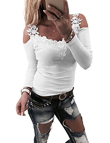 Sexy Low-cut-weiß Top (Boutiquefeel Damen Lace Patchwork Schulterfreie Slim Fit Bluse Oberteile Tops Weiß L)