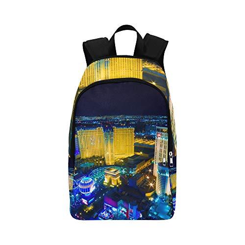 Las Vegas Avenue Nevada Usa Nacht lässig Daypack Reisetasche College School Rucksack für Männer und Frauen -