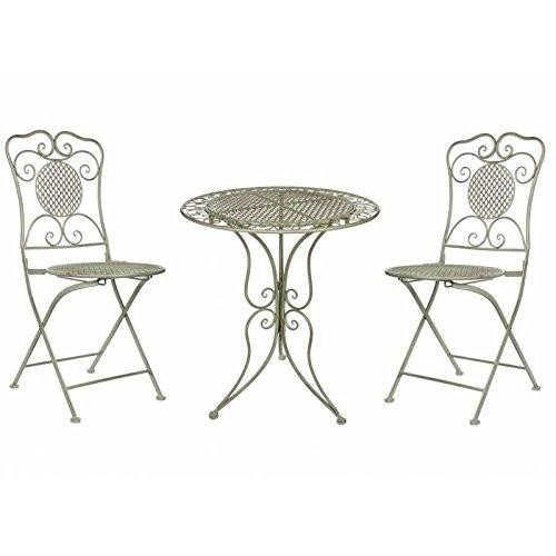 L'Héritier Du Temps Salon de Jardin Salon de Thé 2 Places Personnes Table Bistrot et 2 Chaises Pliantes en Fer Vert