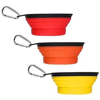 Abestbox Gamelle Chien Lot de 3 Gamelle Chien Pliable Voyage Chien Bol Portable à Eau/Alimentaire pour Moyen à Grands Chiens 6 Pouce Diamètre (Orange & Rouge & Jaune)