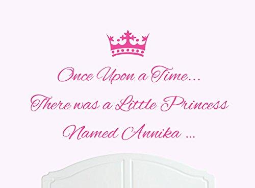 ONCE UPON A TIME THERE WAS A LITTLE PRINCESS NOMBRE ANNIKA TAMAñO GRANDE ADHESIVO DECORATIVO PARA PARED/DE VINILO CAMA HABITACION ARTE CHICA/BEBE