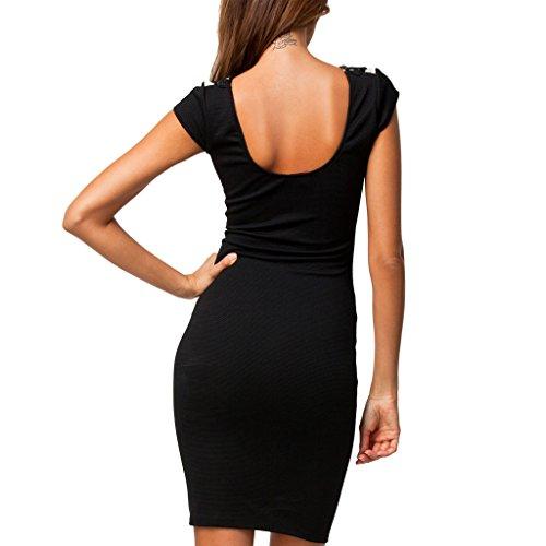 ABILIO - vestito donna tubino nero beige elegante pizzo party abito vestitino festa donna Multicolore