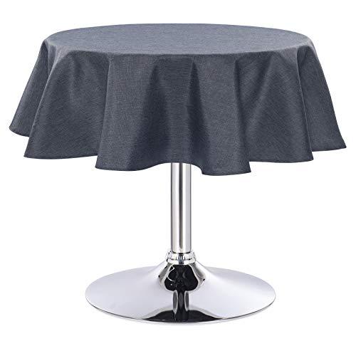 HOLISTAR 0800072 Tischdecke Leinendecke Leinenoptik Wasserabweisend Lotuseffekt Tischtuch Fleckschutz pflegeleicht abwaschbar schmutzabweisend Rund 160 cm Grau