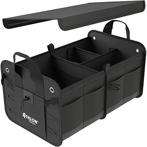 ATHLON TOOLS Premium Kofferraumtasche mit Deckel | 60 Liter XXL Kofferraum-Organizer | Extra stabile & wasserfeste Böden | mit Antirutsch-Klett
