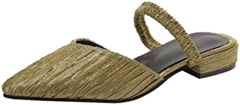 Guesspower Chaussures Unie Vintage Femmes Couleur Unie Chaussures Plissées Talon Plat Antidérapant Bout Pointu  s PantoufleB07D7ZDMR1Parent 5d2d44