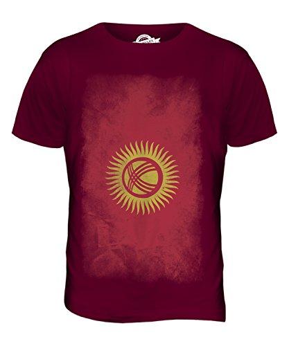 CandyMix Kirgisistan Verblichen Flagge Herren T Shirt Burgunderrot