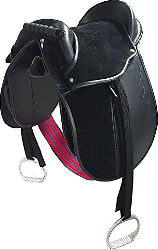 Cwell Equine Kinder Pony-Pad/Jungesattel, komplett mit Steigbügel, Gurt und Gurten, 25,4 cm, Schwarz