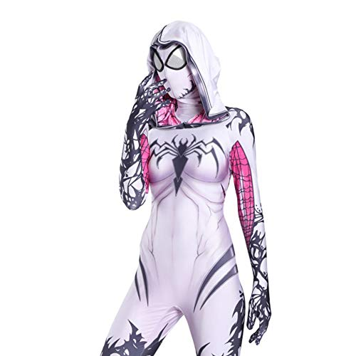 Gwen Spiderman Kostüm Kind Erwachsener Cosplay Kostüm Superhelden Halloween Onesies Mottoparty Karneval 3D Druck Spandex Strumpfhosen,Child-S (Gwen Und Spiderman Kostüm)