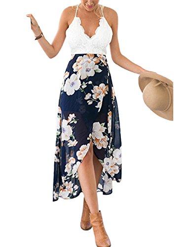 LRUD Mode Frauen Beiläufig Patchwork Spitze Blumen Gedruckt Unregelmäßige Halfter V-Ausschnitt Party Cocktailkleider, Marine Blume, S - Schwarz & Weiß Halfter Kleid