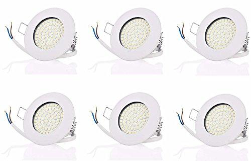 6 x SW-68N Sweet led® Flache LED Einbaustrahler ultra flach | 400 Lumen | 3.5W | 230V | Gehäuse Rund, Weiss | Licht Warmweiss 3000 K