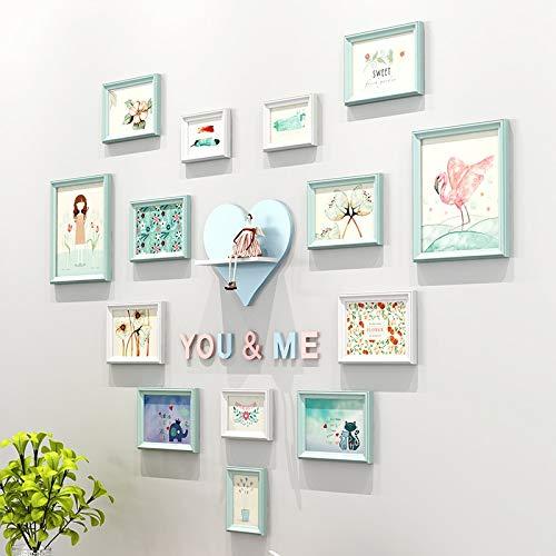 Bobo al coperto photo wall a forma di cuore, protezione ambientale in legno massello creative background wall (14pc) metopa (colore : b)
