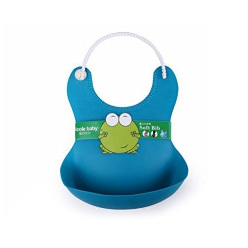 WINOMO Impermeabile Bambino Alimentazione Bavaglino Silicone Regolabile Infant Bib Protettore Degli Aiuti (blu)