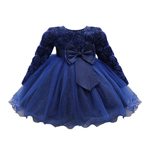 nzessin Kleid Hochzeit Baby Brautjungfern Kleid Bowknot Abendkleid Blumen Cocktailkleid Ballkleid Blumenkleid Langarm Partykleid Tüll Kinder Spitze Kleid (90, Blau) (Slave Prinzessin Kostüme)