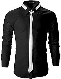 FLATSEVEN Camisas Slim Fit De Vestir Elegantes Entalladas Hombre