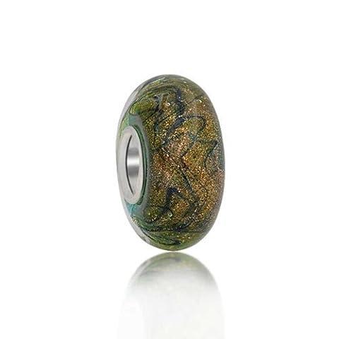 Bling Jewelry Golden Glitter Green Murano glass Lampwork Charm Bead .925 Sterling Silver