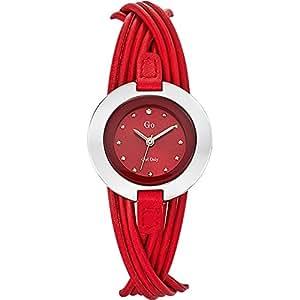 Go Girl Only - 698118 - Montre Femme - Quartz Analogique - Cadran Rouge - Bracelet Cuir Rouge