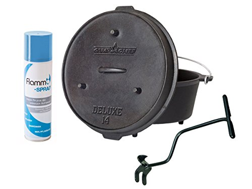 Camp Chef Deluxe Dutch Oven DO-14 mit Dutch Oven Pflegespray