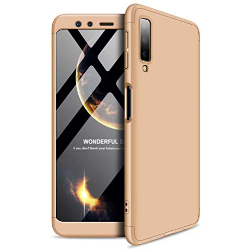 MISSDU kompatibel mit Premium Hart PC 360 Grad Hülle Samsung Galaxy A7 a750(2018) Hülle + Panzerglas,3 in1 Handytasche Handyhülle Schutzhülle Cover - Gold