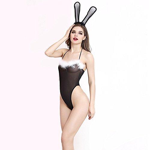 Liu Sensen Dessous Für Frauen Bunny Mädchen Kostüm Ohren und Schwanz Sexy Krankenschwester Maid Uniform Outfits Cosplay Unterwäsche Setzt Schwarzen BH ()