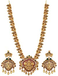 09689f296 Rubans Finely Handcrafted Gold Plated Faux Ruby and Emerald Studded Pearl  Temple Necklace Set
