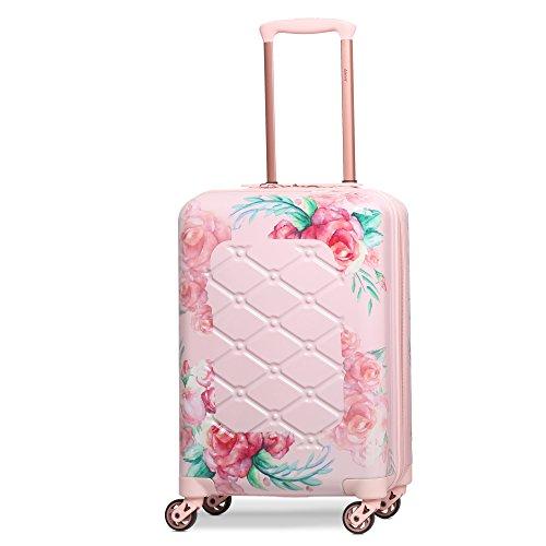 Aerolite Leichtgewicht Polykarbonat Hartschale 4 Rollen Gepäckset Reisegepäck Trolley Koffer, 3 teiliges Set, 55cm Handgepäck + 69cm + 79cm, Rosa Blumendesign - 2