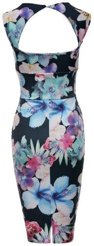 Fast Fashion - Robe Sans Manches Imprimé Floral Serrure Moulante Amoureux - Femmes Noir Coloré