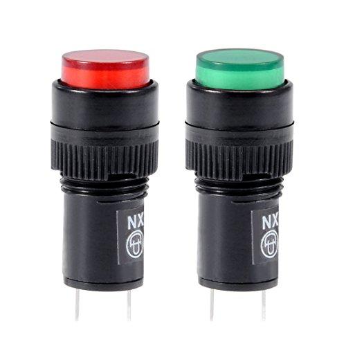 sourcing map 15Stk. AC 220V Kontrollleuchte Signal Neon Lampe Rot und Grün Panel Mount 12mm