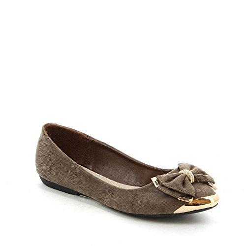 Ideal Shoes Ballerines à Bout Pointu Métallisé Décorées D'Un Noeud Papillon Rolanda Marron