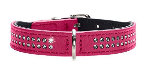 Hunter Hundehalsband Diamond Petit aus Rindnappaleder, pink/schwarz, 27