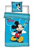 MICKEY Parure de lit Mouse 2 Pièces pour Enfant - Housse de Couette + Taie 140x200 + 63x63 cm
