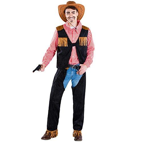 Die Für Arbeit Einfache Halloween Kostüm Ideen (Herrenkostüm Cowboy | kariertes Hemd + Weste und Chap | Sheriff Faschingskostüm (XL | Nr.)