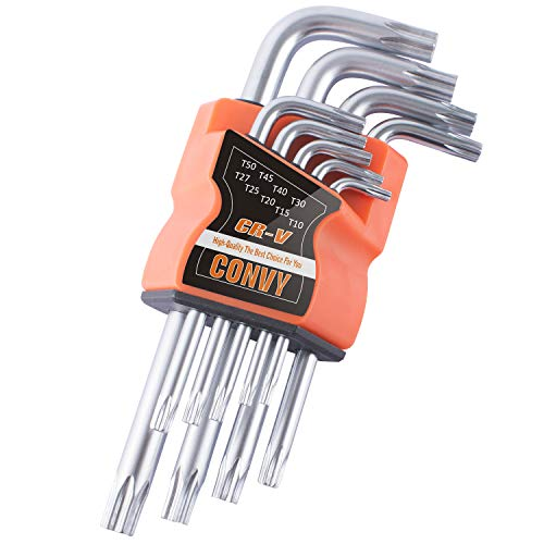Convy GJ-0046 Arm Star Key Wrench Set, Hollow End Star Key Set T10-T50, Set of 9-Piece, Standard -