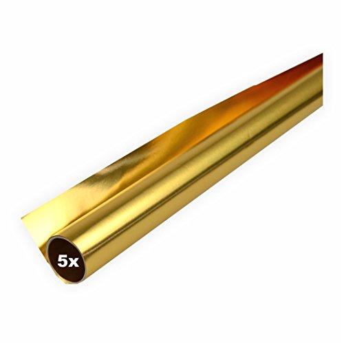 Creleo 792263 Alufolie 5er Pack gold/gold doppelseitig kaschiert 50x78 cm Bastelfolie zweiseitig verwendbar gold / gold
